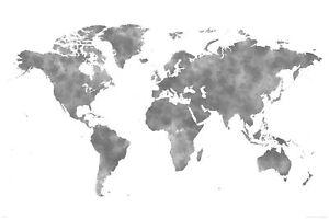 Landkarten Weltkarte Aquarell Grau Lernposter 91 5x61 Cm