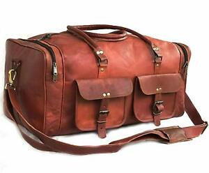 29-034-Men-039-s-Genuine-Leather-luggage-gym-weekend-overnight-duffel-large-vintage-bag