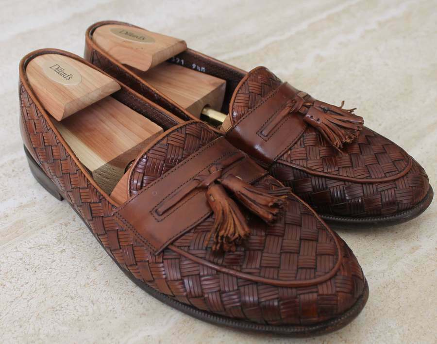 Bragano  Cole Haan Woven Leather Loafers shoes Men's Sz 9.5 M