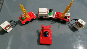 Vintage-Fisher-Price-Ambulance-Fire-Engines-Petrol-pumps-amp-figures-lovely-Cond