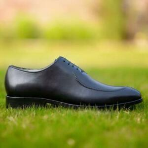 Dress-Shoes-Mens-Wholecut-Oxfords-Black-Formal-Party-Handmade-Calf-Leather-Shoes