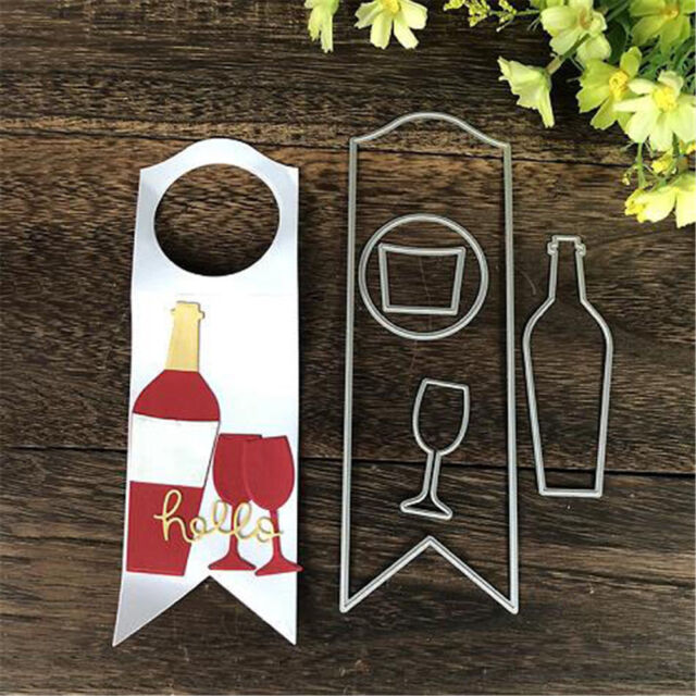 Wine bottle Tag Metal Cutting Dies DIY Scrapbooking Paper Cards CraftsLifelike##