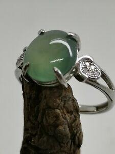 Glassy Light Blue Burmese Jadeite Jade Ring/高冰淡蓝天然缅甸翡翠戒指/ナチュラルビルマ翡翠リング