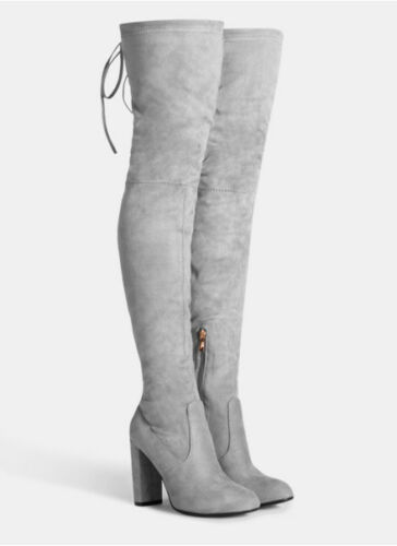 UK Sizes 3-8 Envy Womens Suede Over The Knee Boot Grey