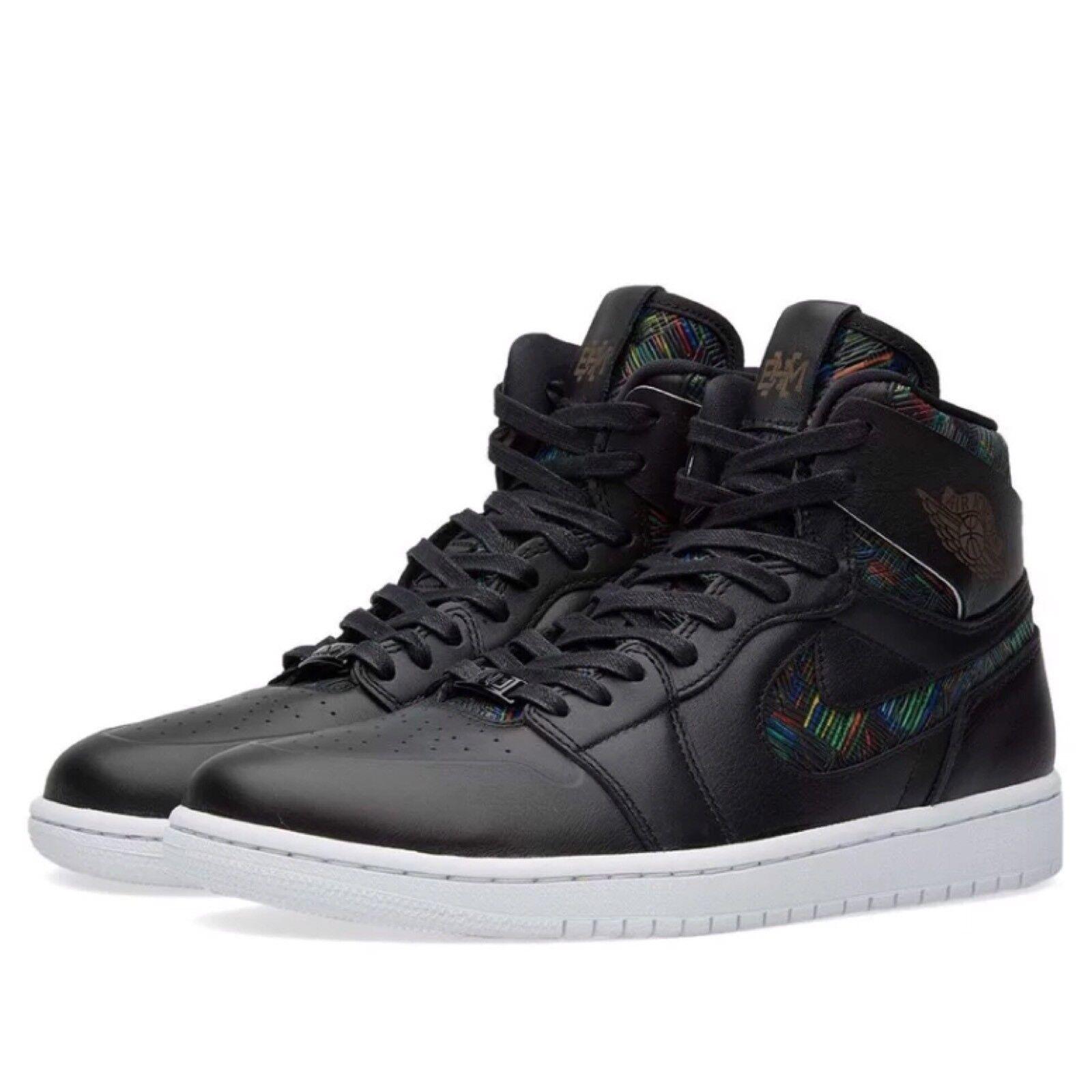 Nike Air Jordan Retro 1 High Nouv BHM Black White Green SZ 10 836749-045