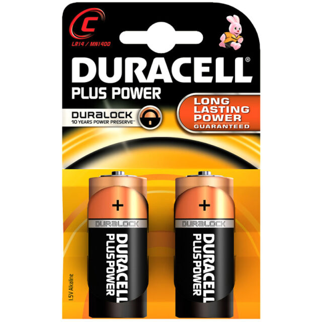 2 PCS Duracell MN1400PLUS-B2 Plus Alkaline Battery C Size - Long Lasting Power