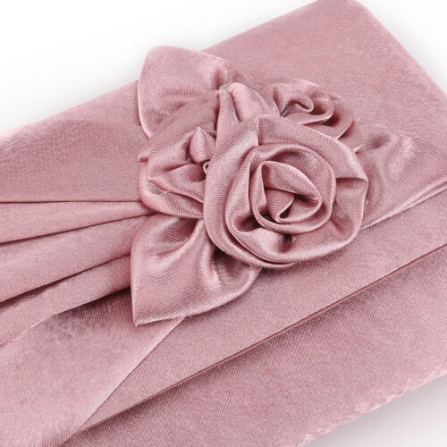 Women Prom Bridal Floral Handbag Satin Clutch Bag Rose Evening Wedding Party
