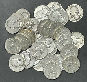 40 Quarters $10 Roll of Washington Quarters 1965-1998 Mixed