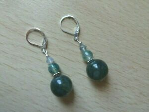 Genuine MOSS  AGATE gemstone drop  EAR RINGS St Silver Gift wrapped