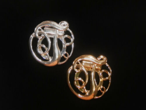 NWT WOMEN/'S SILVER OR GOLD LETTER /'T/' MONOGRAM FASHION SCARF RING//CLIP//SLIDER