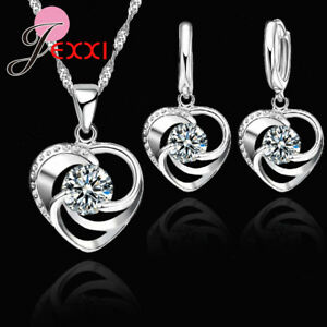 925-Sterling-Silver-Crystal-Cubic-Zirconia-Heart-Pendant-Necklace-Earring-Set-UK