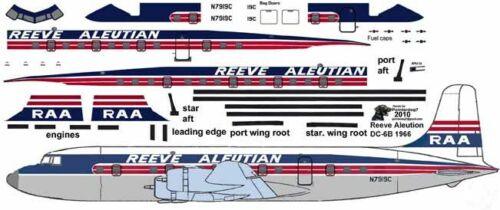 Reeve Aleutian Douglas DC-6 airliner Pointerdog7 decals 4 Minicraft 1//144 kits