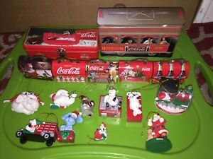 Coke-Coca-Cola-Mini-Christmas-Lunchbox-Orniments-Bears-And-Tins-Lot-of-16