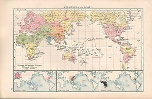 1900 Times Large Antique Map Religions Of The World Ebay