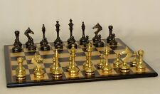 Stunning Chess Set with Brass Pieces on Birdseye Maple Chess Board