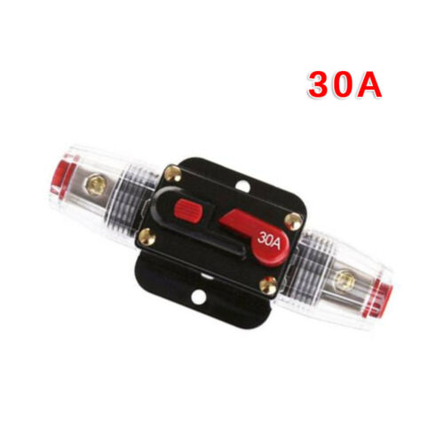 30A Amp In-Line DC Circuit Breaker Audio Car Video Fuse Holder Self-recovery Kit