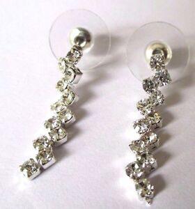 Site Officiel Boucles D'oreilles Percées Bijou Couleur Argent Tombantes Cristaux Diamant 537 Marchandises De Proximité