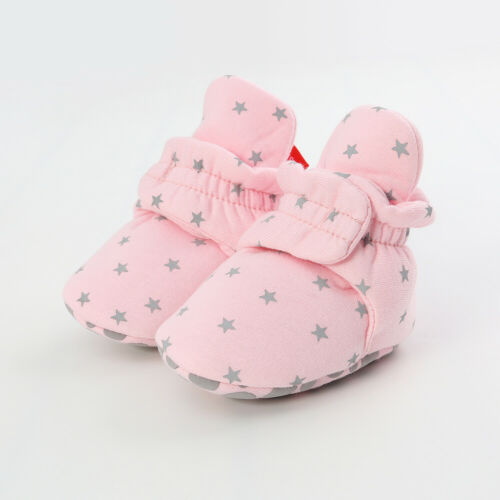 UK Baby Unisex Warm Soft Star Printed Soles Crib Shoes Anti Slip Boots Prewalker