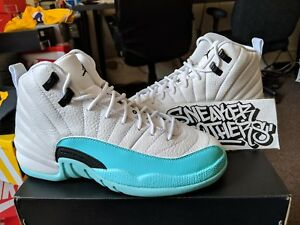 f3f3e5ced64617 Nike Air Jordan Retro XII 12 White Light Aqua Black Green GS GG Teal ...