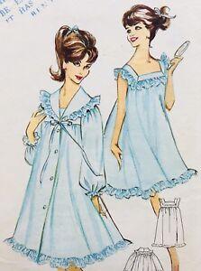 Vintage-1960-s-BABYDOLL-STYLE-NIGHTDRESS-LINGERIE-Sewing-Pattern-W8293