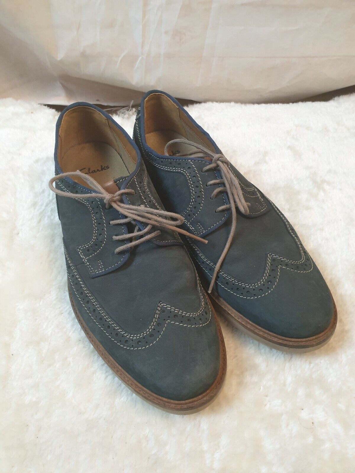Clarks Blue Suede Round Toe Lace Up Shoes Size 42.5 UK 8.5 G