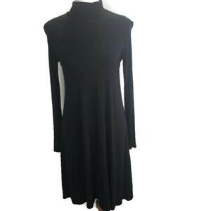 Eileen-Fisher-100-Silk-Xs-Mock-Neck-Black-Long-Sleeve-Dress