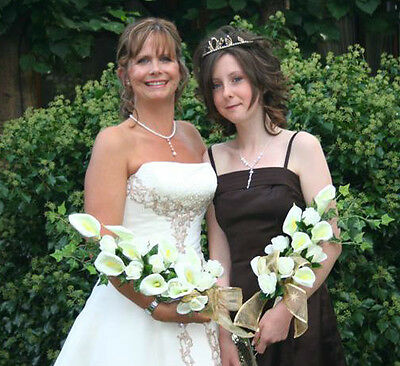 Wedding Flowers, Ivory Calla Lily & Rose Overarm Bouquet, Bride, All Colours