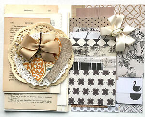 Junk Journal supplies scrapbook papers hand cut hearts vintage book pages bows Junk Journal Kit