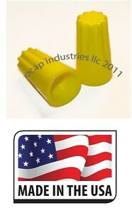 1000-Yellow-Twist-On-Wire-Connector-Conical-nut-18-12-Gauge-Barrel-Screw-USA