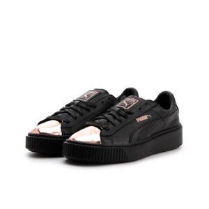 ac0166b3a3d8 Puma Basket Platform Metallic Sneaker Womens 8 NEW Black Rose Gold ...