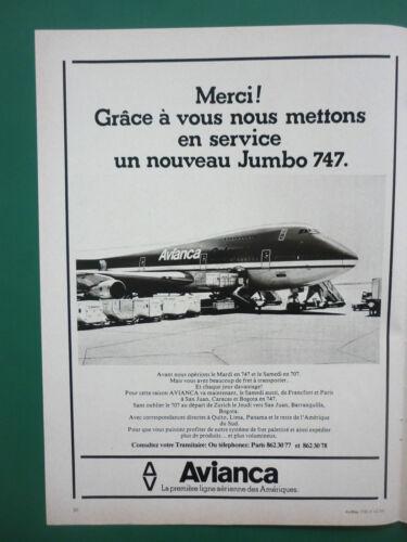 11//1977 PUB COMPAGNIE AVIANCA AIRLINE BOEING 747 JUMBO ORIGINAL FRENCH AD