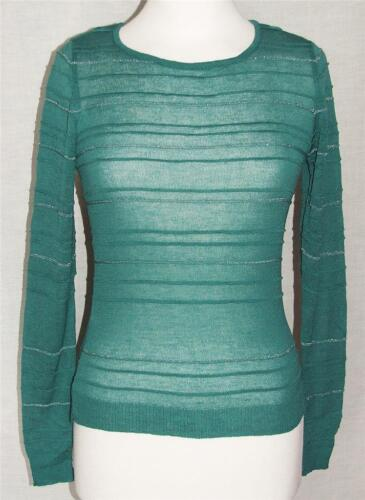 NEW ex Marks /& Spencer GREEN//SILVER Long Sleeve Round-Neck Jumper Szs UK 8 to 14
