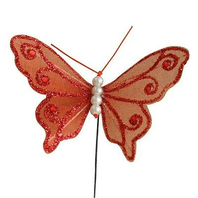 12 Butterflies 75mm Butterfly Red Gauze Glittered Wedding Decor Flowers #24b276 Om Jarenlange Probleemloze Service Te Garanderen