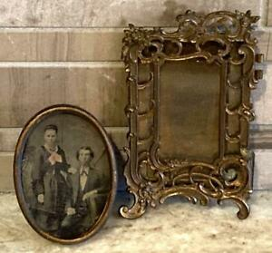 2-Antique-French-Victorian-Bronze-Mini-Picture-Frames-with-glass