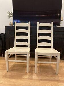 Pottery Barn Wynn Ladderback Wood Side Chairs Set Of 2 In