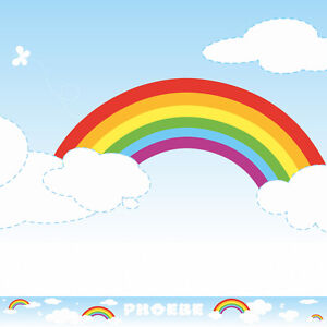 RAINBOW CLOUDS WALL BORDER personalised nursery baby bedroom ...