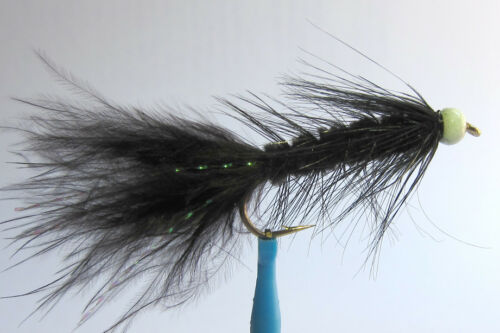 1 x Mouche Streamer Wooly Bugger Noir Bille Blanc H8//10//12 fly truite black bead