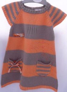 4d37669a6e61b La Compagnie des Petits Robe tricot gris orange motif théière bébé ...