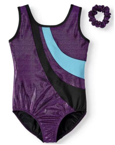 NWT Girls Danskin Now Gymnastics Leotard Black Purple Teal Medium M 7 8 New