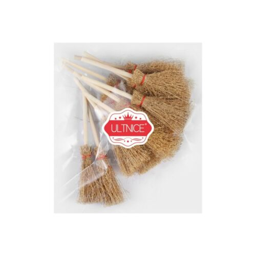 ULTNICE 12pcs Mini Broom Toys Straw Broom Halloween Party Hangings Decorations