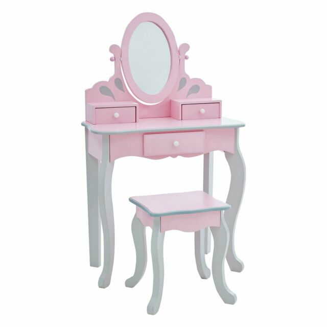brand new 5ea69 6483b out Teamson Kids Childrens Pink Wooden Vanity Stool Dressing Table Mirror T