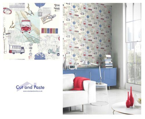 Arthouse Backpacker Carte de Voyage Bleu Rouge Blanc Papier Peint 889700