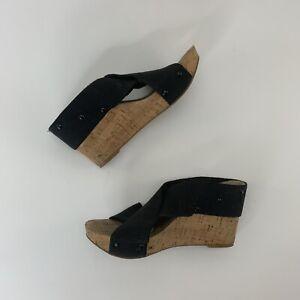 0f1f944265b Lucky Brand Miller Sz 7.5 Black Elastic Cork Wedge Platform Sandals ...