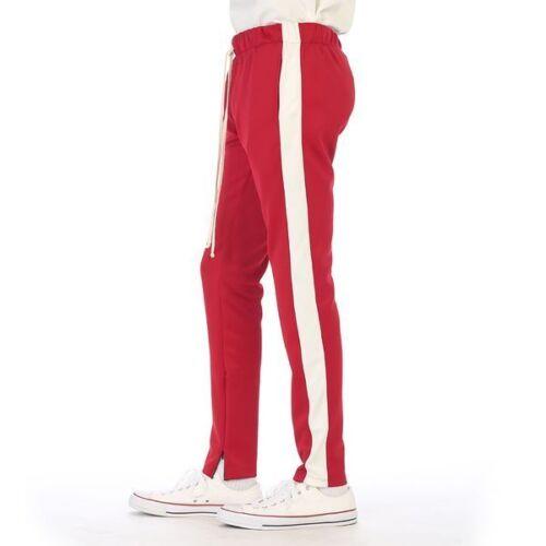 Men/'s Hip Hop Poly Side Ankle Zip Long Drawstring Techno Track Pants New EPTM