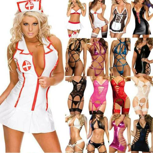 Uniform Cosplay Dessous Unterwäsche V-Ausschnitt Kleid Nachtwäsche Rollenspiel