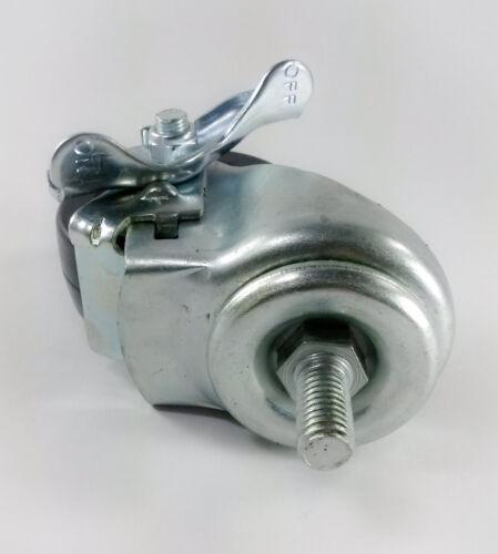 "4 Swivels with Brake 3/"" x 1-1//4/"" Hard Rubber on Threaded Stem Caster B1"