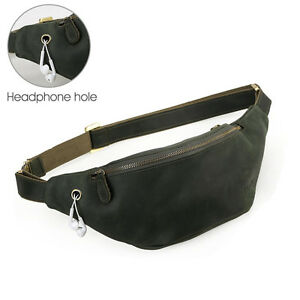 49d314038a0a2 Men's Genuine Leather Waist Pack Pouch Belt Hiking Camp Outdoor Bag ...