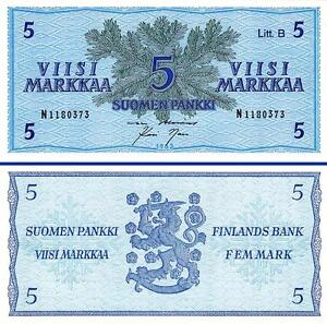 FINLAND 5 MARKKAA 1963 UNC 2 PCS CONSECUTIVE PAIR P 106A Litt B