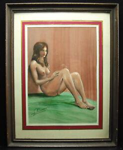 DéSintéRessé Nu De Femme, Gouache Originale Signée G Bolet (?) Nude Woman Draw 26 Cm Nue Volume Large