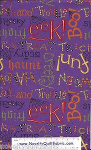 Happy-Howloween-Halloween-Witch-Vampire-Spooky-Purple-Novelty-Quilt-Fabric-BTY